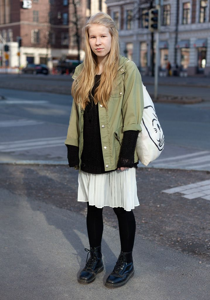 """Anni - Hel Looks - Street Style from Helsinki""""I'm wearing a second hand Fjällräven parka, a skirt from Monki and my friend's old boots.  I want to wear as much recycled clothes as possible. Grunge inspires me. After wearing so much black and dark blue I'm now into bright colours like yellow, pink and turqoise."""""""