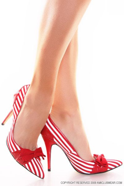 Bella BrittanyPin Up Shoes, Red Stripes, Black And White, Red Heels, Fun Red, Candies Canes, High Heels, Stripes Bows, Stripes Shoes