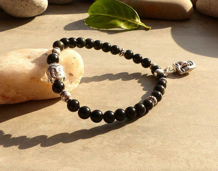 Bracelet de protection en obsidienne noire, bijou en obsidienne, bracelet bouddha et pierres naturelles, bracelet obsidienne et bouddha : Bracelet par lapassiondisabelle