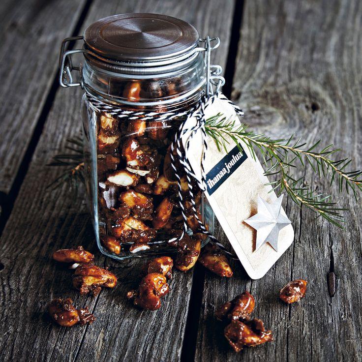 Karamellikuorrutteiset mantelit ja cashewpähkinät | K-ruoka #joulu #ruokalahja