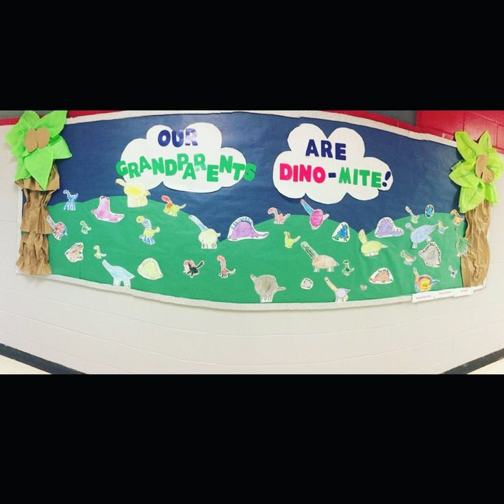 "Let your students have some ownership in your bulletin board duties! We searched YouTube for ""how to draw a dinosaur for kids,"" and created this bulletin board to celebrate Grandparents Day for September."
