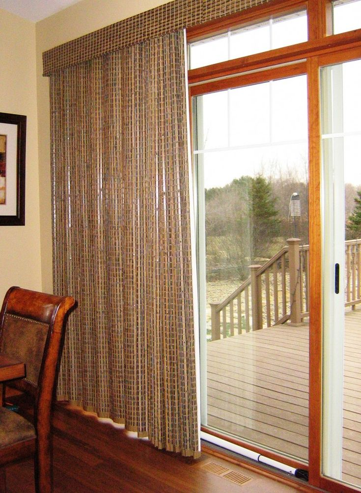 Patio door window treatments provenance woven wood for Panel tracks for patio doors