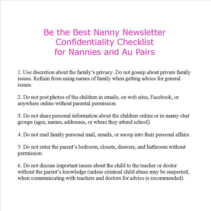 28 best Essential Nanny Paperwork images on Pinterest Live in - nanny responsibilities on resume