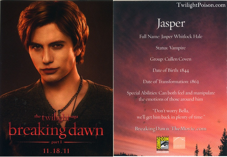 Jasper stats Breaking Dawn 1