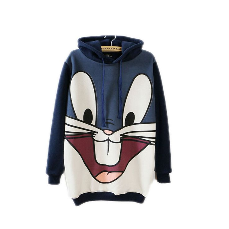 Korea cartoon rabbit long Hooded Fleece sweatshirt womens winter print Hoodies Patchwork Casual wear plus size