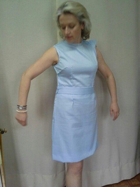 Prova vestido azul claro.