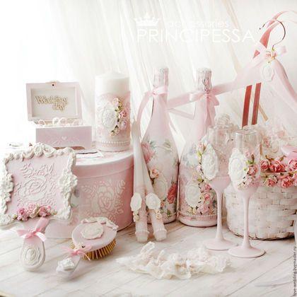 """Свадебные аксессуары ручной работы. Ярмарка Мастеров - ручная работа. Купить """"Нежный пион"""" свадебный набор. Handmade. Бледно-розовый"""