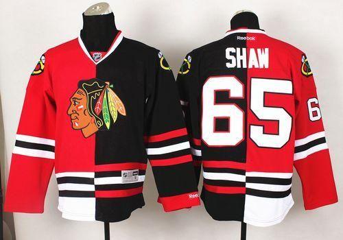 #65 Blackhawks Andrew Shaw Red/Black Split Stitched NHL Jersey
