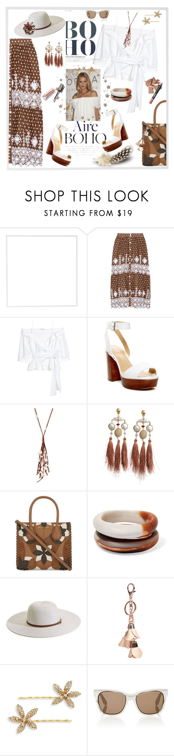 """""""Brown and White"""" by honkytonkdancer ❤ liked on Polyvore featuring Menu, Miguelina, MICHAEL Michael Kors, Chan Luu, Gas Bijoux, Dinosaur Designs, Melissa Odabash, GUESS, Jennifer Behr and Givenchy"""