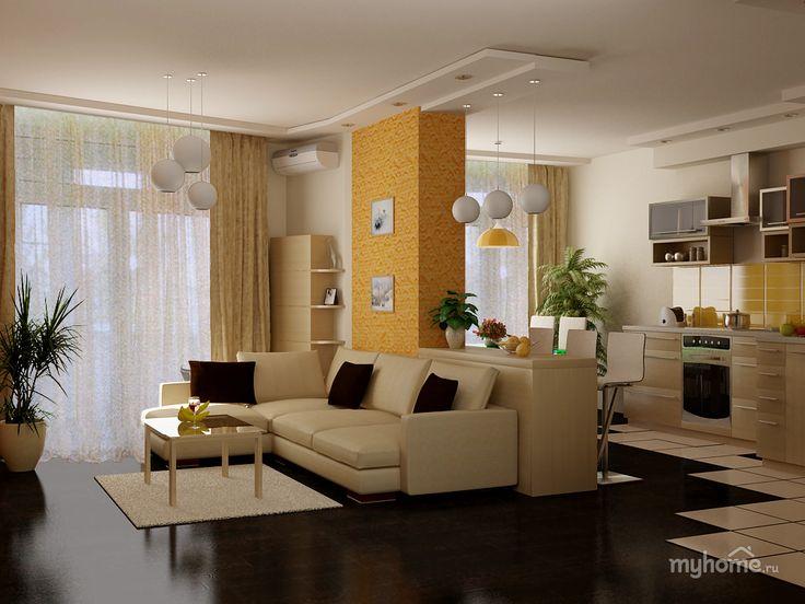 Хозяева этой однокомнатной квартиры поставили практически невыполнимую задачу: разместить на неполных 60 квадратных метрахотдельную спальню с полноценным спальным местом, столовую с полноценной столовой зоной, зону для просмотра телепередач и вместительные шкафы для гардероба хозяйки.