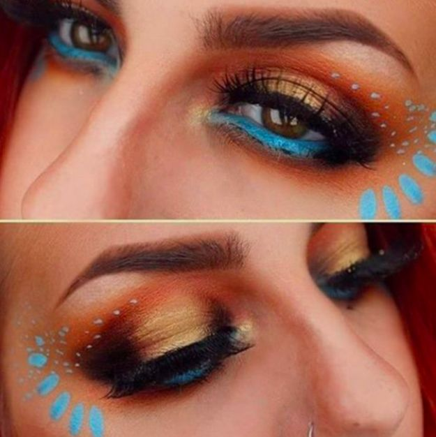 Blue eyeliner, terra-cotta eyeshadow, and a touch of gold to transform into Pocahontas.
