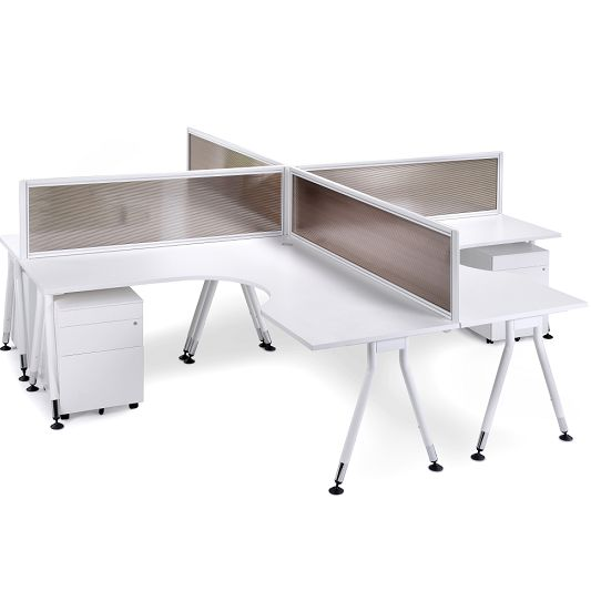Vee Cluster. The Vee Cluster workstation is a functional and versatile office desking solution that provides four work positions. The desk has clean and functional lines because of its angled leg detail. It is custom made and available in a combination of sizes and designs that are limitless to suit any office environment.