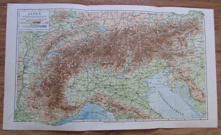 Alpen Höhenschichtenkarte - alte Landkarte Karte old map 1928