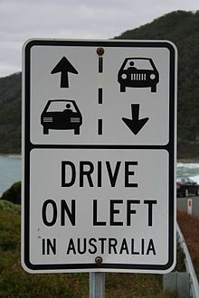Visiting Australia, Please drive on the left hand side of the road, Just like the sign shows. Have a great holiday.