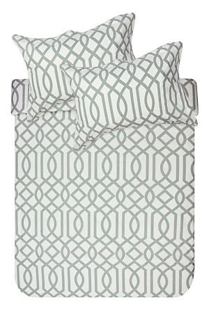 """This printed duvet cover set is made from a 100% natural cotton percale and has bold geometric print design. The high quality 180 thread count has a refined texture that provides extra comfort for those lazy mornings in bed. Single and three quarter include 1 standard pillowcase, double, queen and king include 2 standard pillowcases.<div class=""""pdpDescContent""""><BR /><BR /><b class=""""pdpDesc"""">Fabric Content:</b><BR />100% Cotton<BR /><BR /><b class=""""pdpDesc"""">Wash Care:</b><BR>Gentle cycle cold…"""
