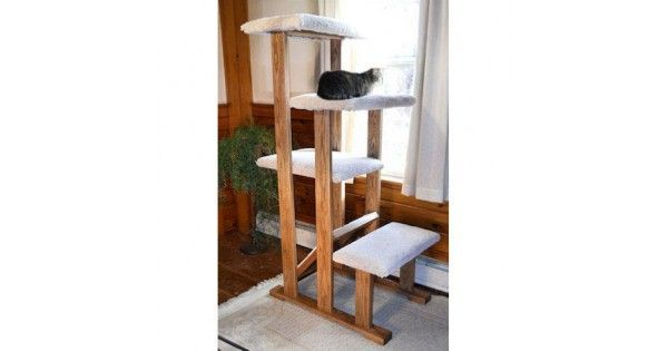 This is a high-grade cat tower made with cats in mind. It features four levels large enough to spread out and nap, carpet cat scratcher close to the floor and solid wood construction. Each level is carpeted with plush carpet and construction can be made o