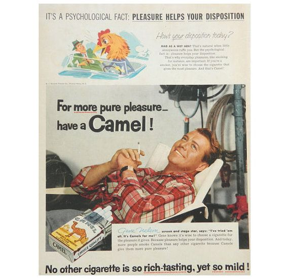 Gene Nelson Camel Cigarette Ad OR Old Crow Kentucky Bourbon Whiskey Ad - 1955