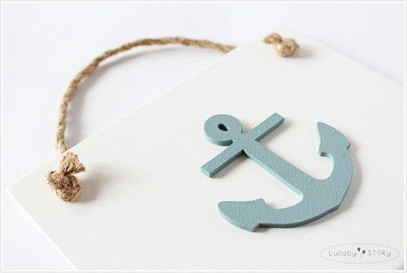 Wooden hand painted picture with anchor  Kids room by LullabySTORY