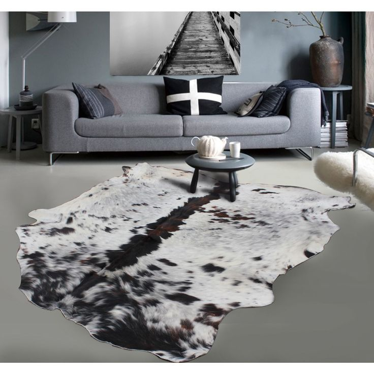 Brown White 100-percent Argentinean Cow Hide Area Rug