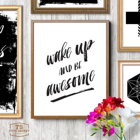 Wake Up en worden Awesome inrichting van de van TypeSecret op Etsy
