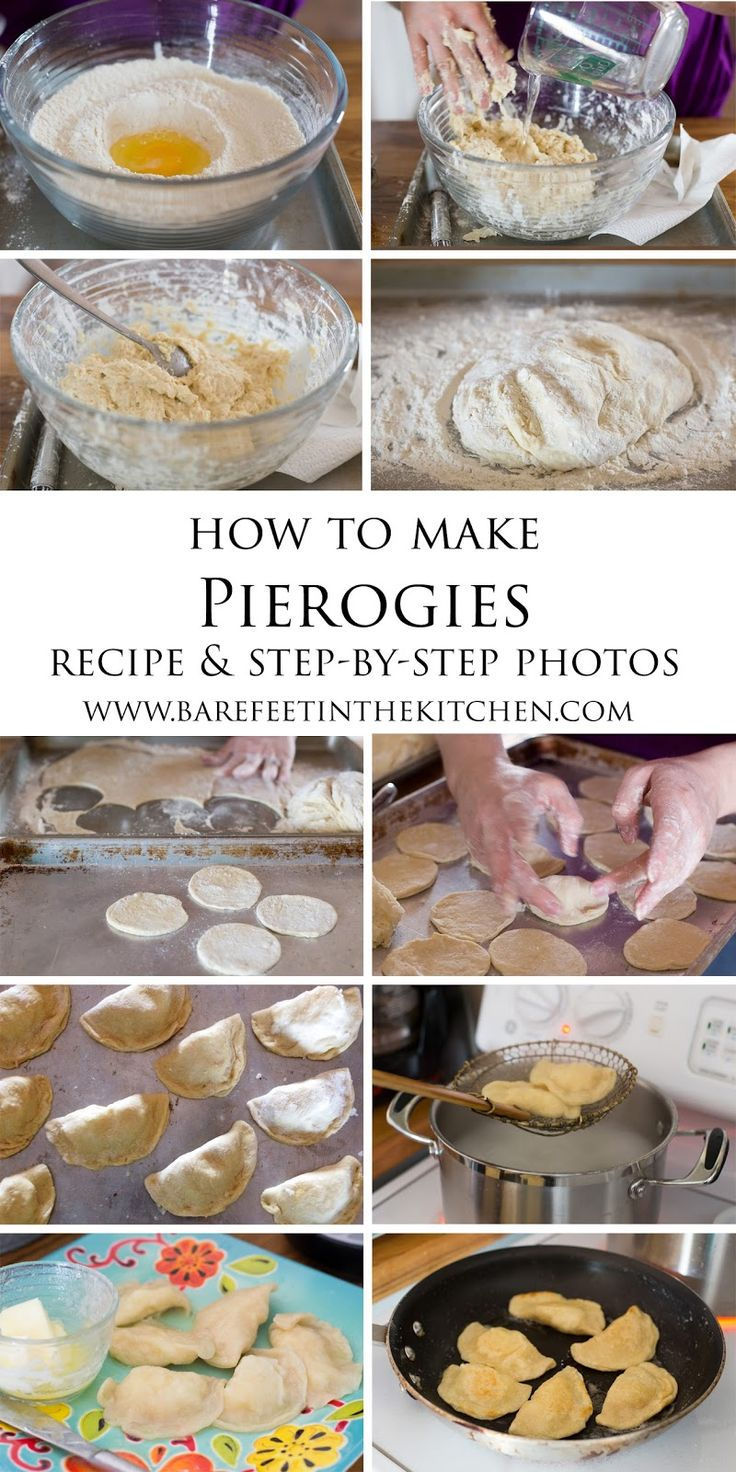 "Polish Pierogies: Step-By-Step Recipe with Photographs   Note: the trick is to roll the dough as thinly as possible so they don't taste ""doughy"" and seal them well to prevent leaky-rogies."