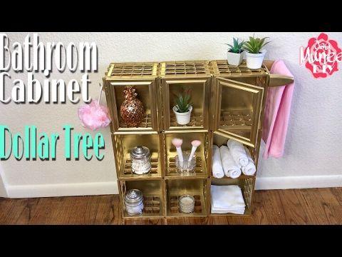 (10) Dollar Tree DIY Bathroom Storage Cabinet - YouTube