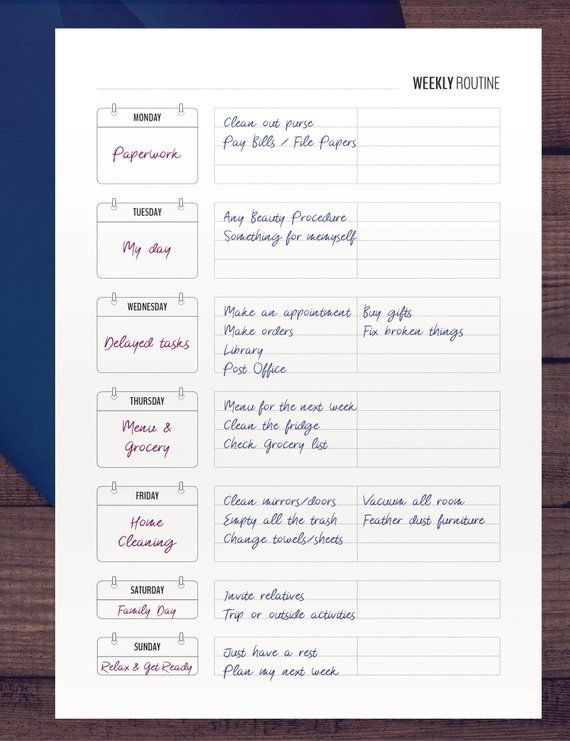 Weekly Routine Printable Checklist Is A Home Management Etsy Routine Printable Printable Checklist How To Plan