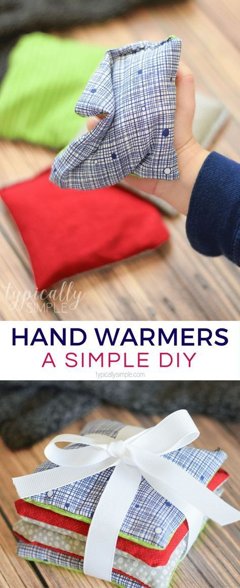 These DIY rice hand warmers are a great way to use up some fabric scraps! Plus it's the perfect beginner's sewing project for kids or adults! #sewingprojects #handmadegifts