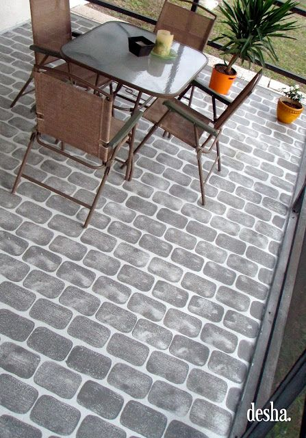 Perfect Painted Faux Brick Patio