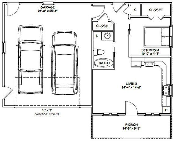 42x28 2 Car Garage 1130 Sq Ft Pdf Floor Plan Instant Etsy Garage Apartment Interior Car Garage Pitched Roof