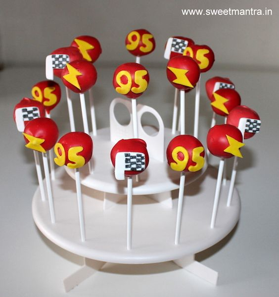 McQueen cars theme customized eggless Cake Pops for boy's birthday at Baner, Pune