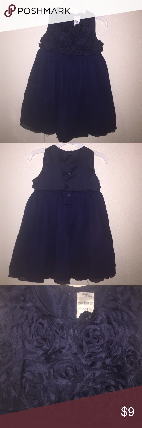 Lovely Dark Blue Carters Dress Baby Girls tulle dark blue dress with beautiful rose around the chest area. Never been worn sadly enough. Clean, no stains or odors. Carter's Dresses Formal