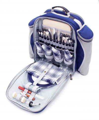 Deluxe Four Person Picnic Backpack Hamper in Midnight Blue from Picnicware.co.uk #picnic #backpack #rucksack #hamper