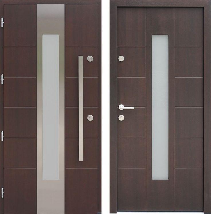 Drzwi wejściowe z aplikacjamii ze stali nierdzewnej inox wzór 471,5-471,15 tiama