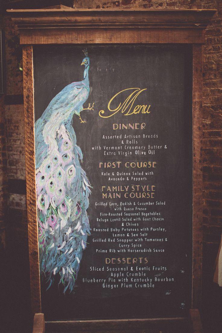 This chalkboard wedding menu is divine!