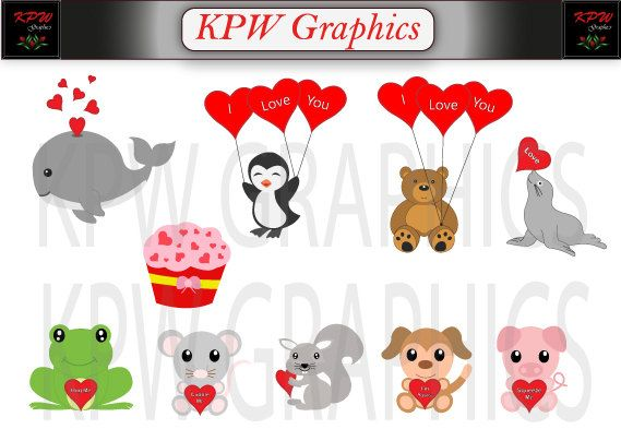 Valentine Animal Clipart Set in PNG 300ppi format. by KPWgraphics