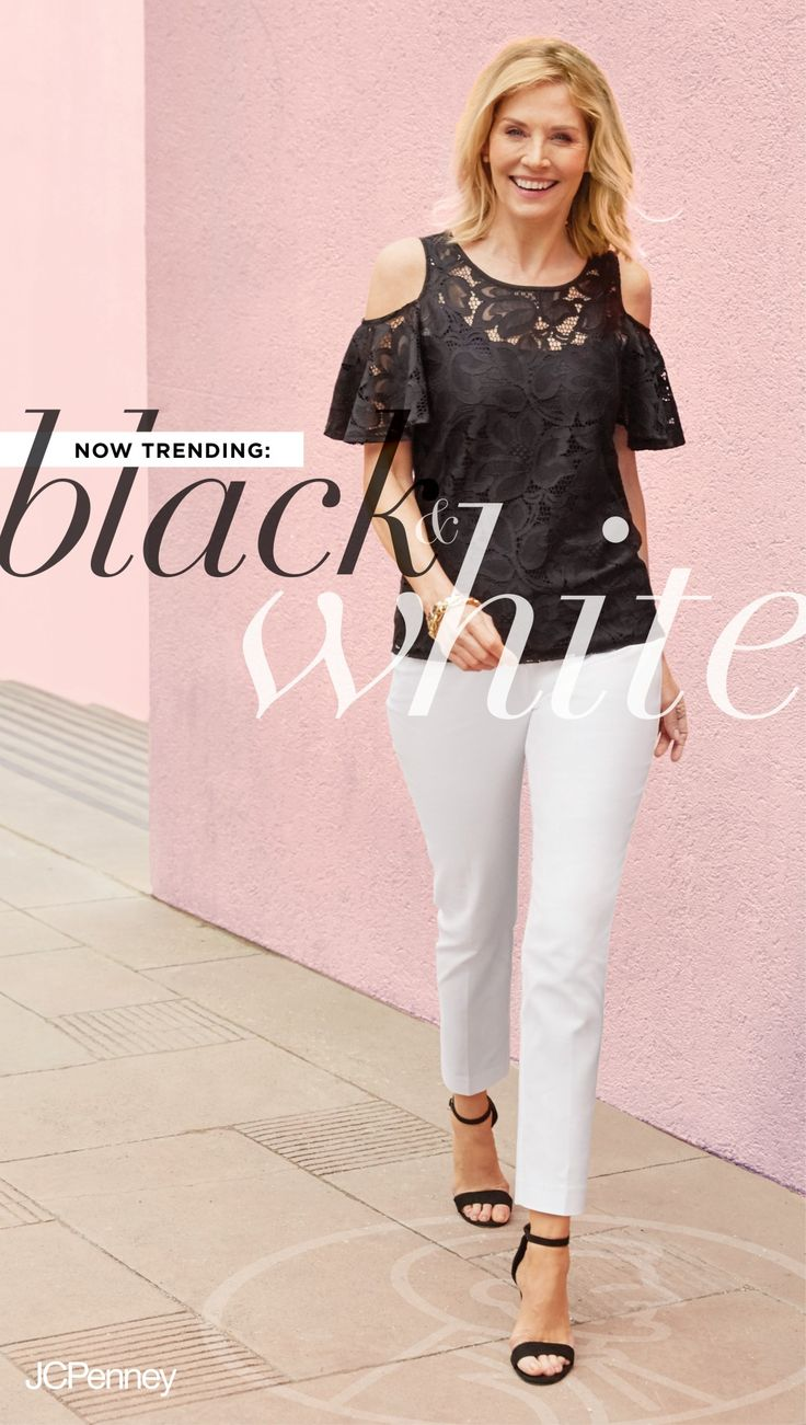 Black and white outfits never go out of style. A black cold shoulder top with lace is a summer top you can throw on for a party outfit or date night look. Don't be scared of white cropped white pants. They're the perfect addition to your summer wardrobe.