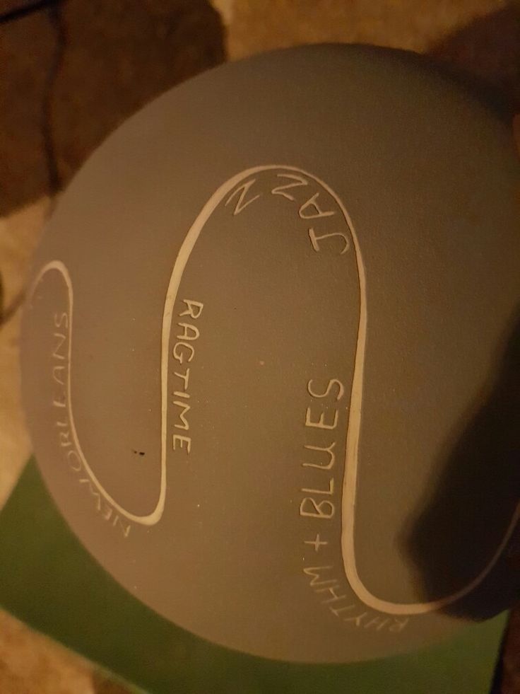Music genres scratched into biggest pot drum.