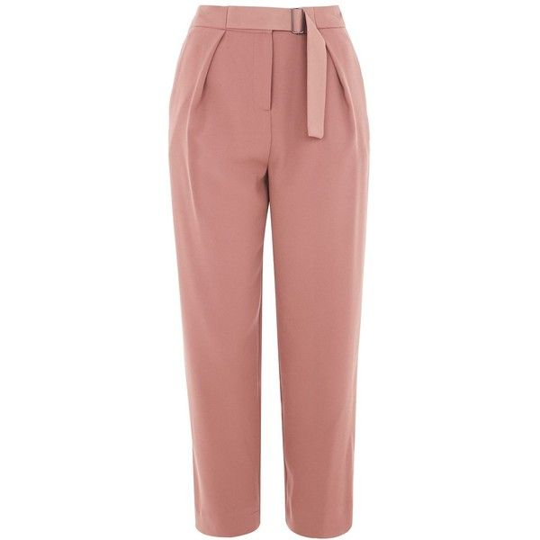 Topshop Utility Peg Trousers (£39) ❤ liked on Polyvore featuring pants, capris, bottoms, trousers, rose, peg trousers, tapered trousers, cropped capri pants, peg pants and utility pants