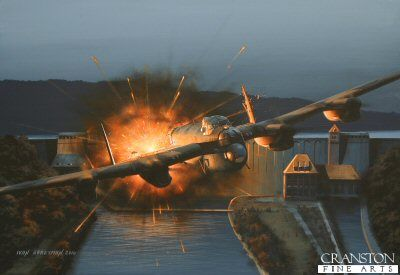 Tragedy at the Eder by Ivan Berryman; After the Mohne, 3 Lancasters of 617 Sqdn head to attack the Eder Dam. On his 2nd pass Sqdn Ldr Maudslay released his bomb too late hitting the top of the dam, bouncing up and exploding behind his Lanc, damaging it badly. Damaged, he turned and headed for home only to be shot down by flak. The entire crew was lost. The Eder was finally successfully breached by Pilot Officer Les Knight's aircraft, ED912(G), AJ-N, which returned safely.