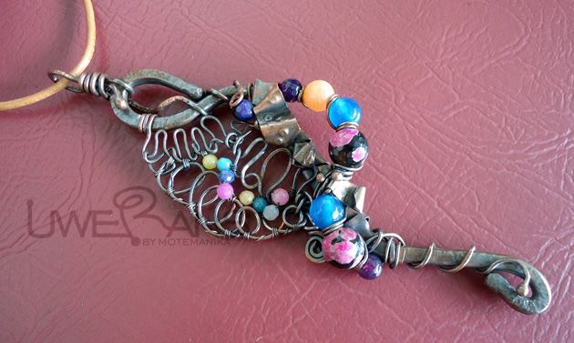 Rainbow bouquet dyed agate beads, copper wires 4mm as the frame and smaller sizes as ornament hammered & oxidizing