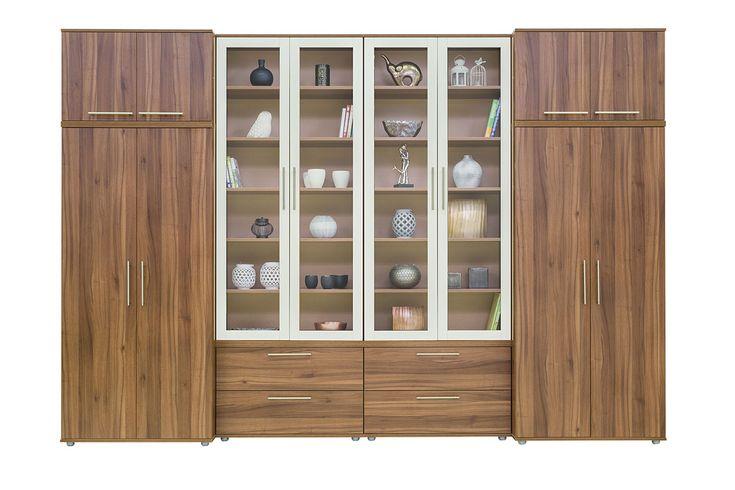 Grande szekrénysor dijoni dió színben, fehér keretes üvegajtókkal.