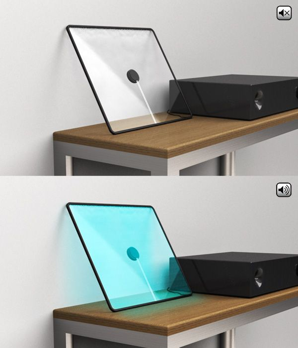 FRAME speaker. A flat and invisible speaker using a sheet of glass as a vibrating membrane to create sound. When the speaker is on, music gives birth to color and brings a new existence to sound within the space.