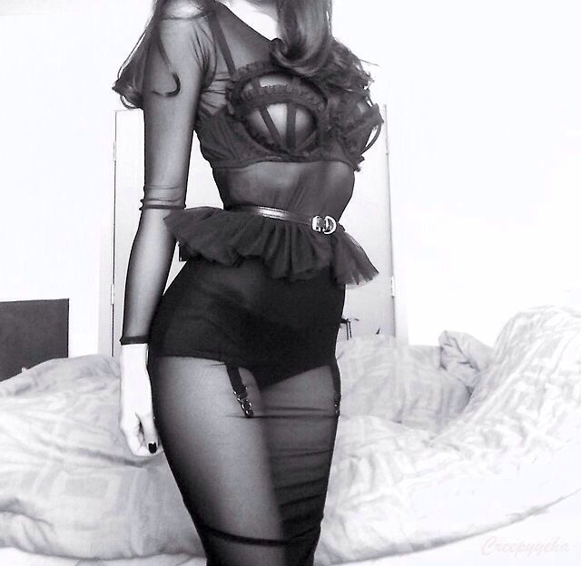 Cute modern goth black outfit #grunge lingerie