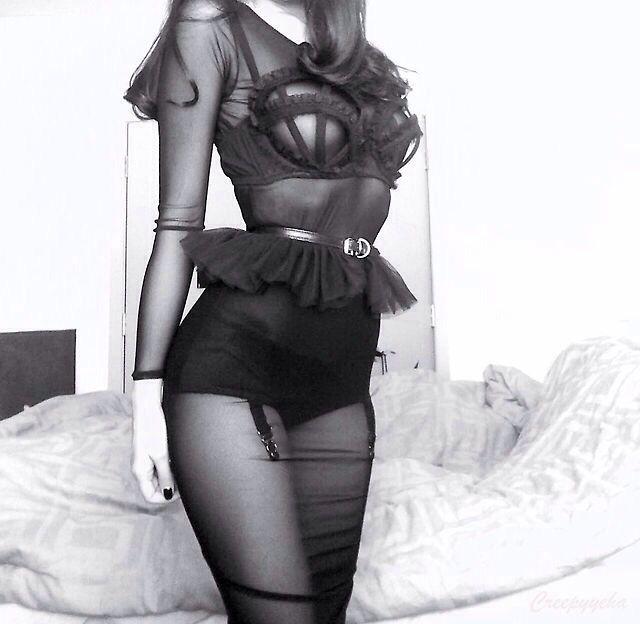 Cute modern goth black outfit #grunge lingerie