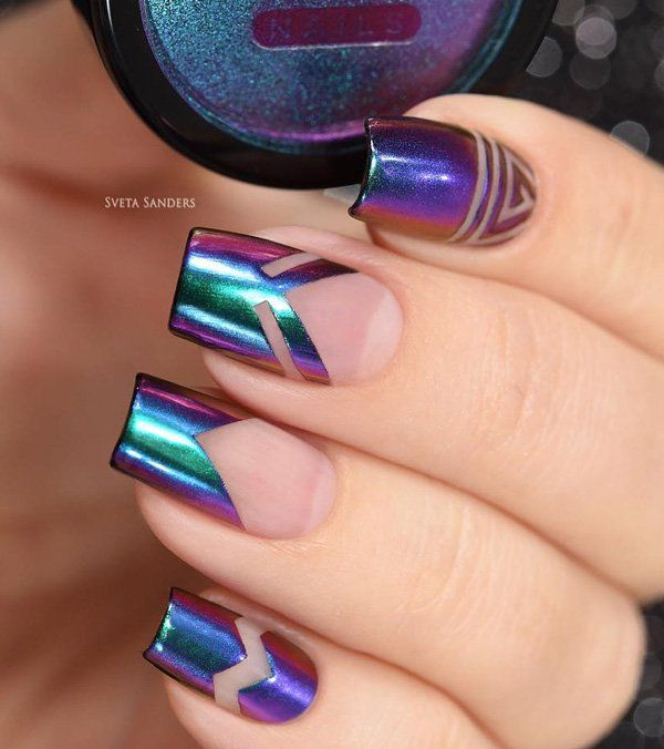 Interesting french manicure, on which in the upper part was not used white color, actually is rubbed holographic powder. This powder gives us a metallic color that shimmers in all colors of the rainbow.