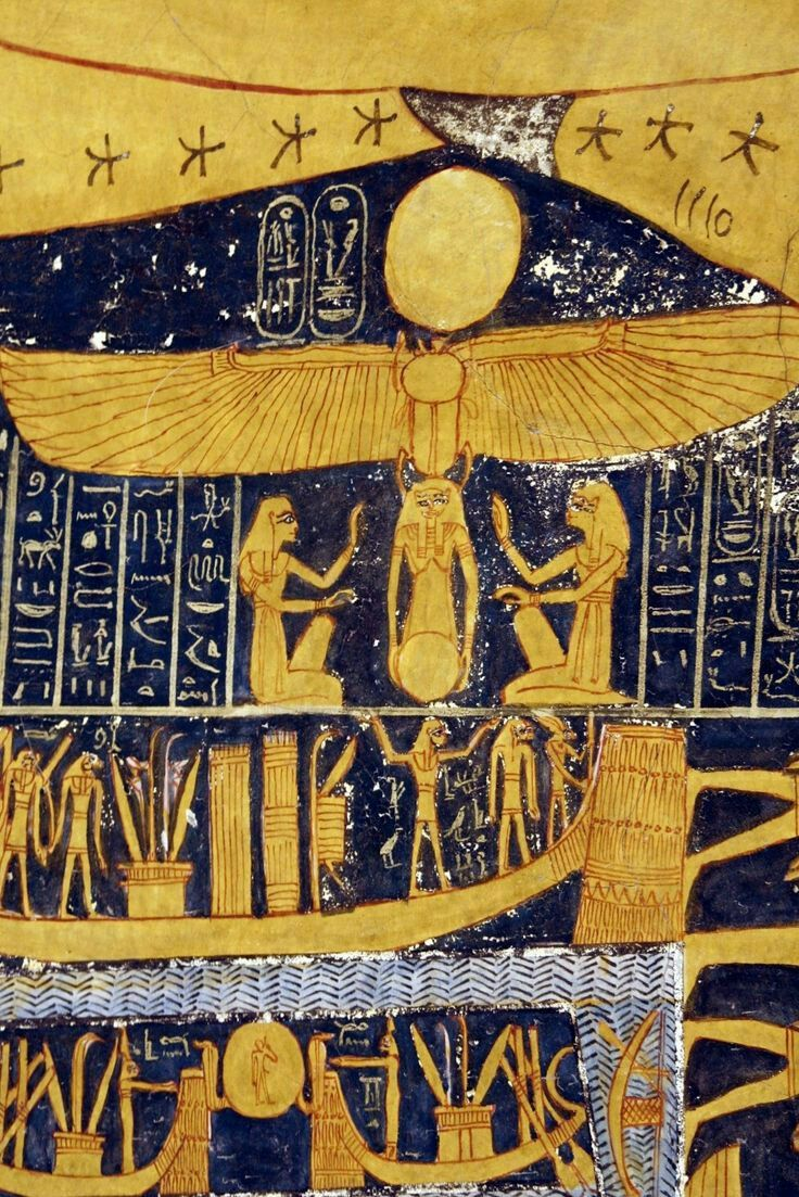 Depiction in gorgeous golden yellow and midnight blue of the rebirth (Scarab above) of the sun,tomb of Rameses Vl