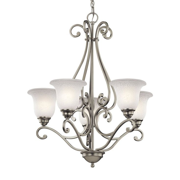 Kichler Lighting Camerena 27-in 5-Light Brushed Nickel Vintage Shaded Chandelier