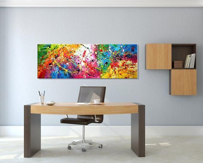 Krachtig kleurrijk abstract schilderij 'Carnival' van Ines, 150x50 cm, acrylverf op canvas. Dit kunstwerk staat prachtig op een witte muur in je woonkamer, maar kan ook een kantoor flink opfleuren. Kijk voor meer informatie in onze webwinkel www.kunstvoorjou.nl #kunst #interieur #kunstophetwerk #muurdecoratie