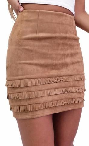 Retro Fringe Suede pencil skirt | Retro fringed suede leather pencil…